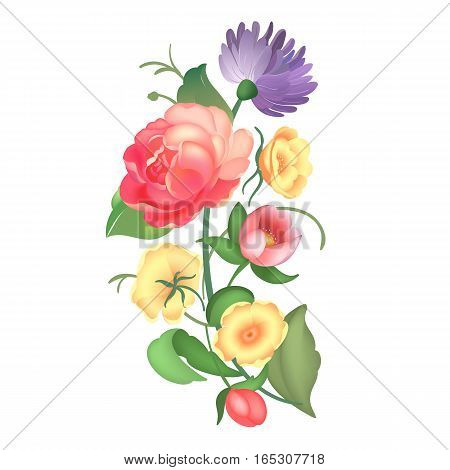 Beautiful bouquet with roses and leaves. Flower arrangement. Design for greeting card and invitation of the wedding, birthday, Valentines Day, mother s day and other holiday. Vector illustration