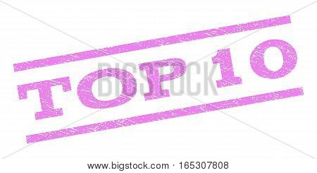 Top 10 watermark stamp. Text caption between parallel lines with grunge design style. Rubber seal stamp with dust texture. Vector violet color ink imprint on a white background.