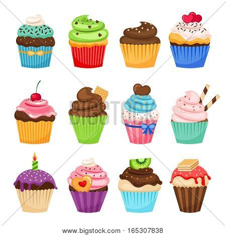 Delicious cupcakes and vector sprinkles muffin set isolated on white background