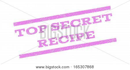 Top Secret Recipe watermark stamp. Text caption between parallel lines with grunge design style. Rubber seal stamp with dirty texture. Vector violet color ink imprint on a white background.