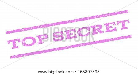 Top Secret watermark stamp. Text caption between parallel lines with grunge design style. Rubber seal stamp with dirty texture. Vector violet color ink imprint on a white background.