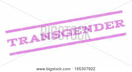 Transgender watermark stamp. Text caption between parallel lines with grunge design style. Rubber seal stamp with dirty texture. Vector violet color ink imprint on a white background.