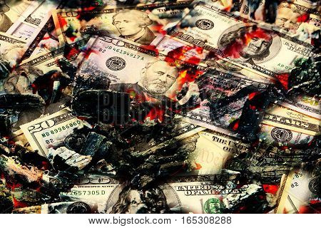 red-hot coal and the flames with paper money dollars as an illustration of the global financial crisis