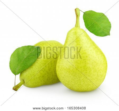 Green Yellow Pears With Leaf Isolated On White