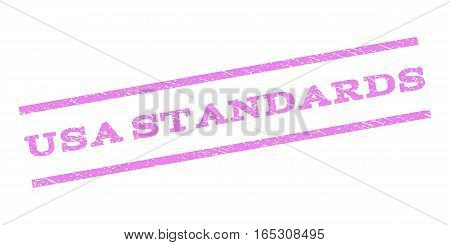 USA Standards watermark stamp. Text tag between parallel lines with grunge design style. Rubber seal stamp with scratched texture. Vector violet color ink imprint on a white background.