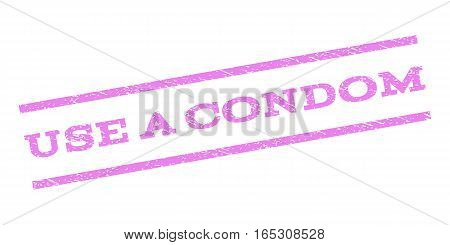 Use a Condom watermark stamp. Text tag between parallel lines with grunge design style. Rubber seal stamp with dust texture. Vector violet color ink imprint on a white background.