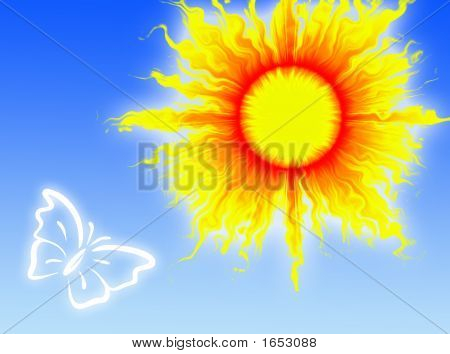 Colorful sun in a blue sky with a butterfly poster