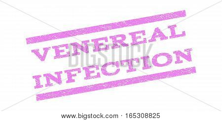 Venereal Infection watermark stamp. Text tag between parallel lines with grunge design style. Rubber seal stamp with scratched texture. Vector violet color ink imprint on a white background.
