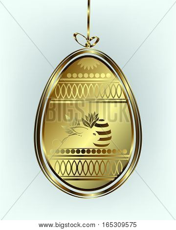 Design from the Silhouettes of the Golden Easter eggs with a bow, the rabbit with leaves