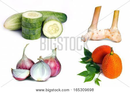 Cucumber, Ginger, Shallot(onion), And Gac Fruit Isolated On White Background