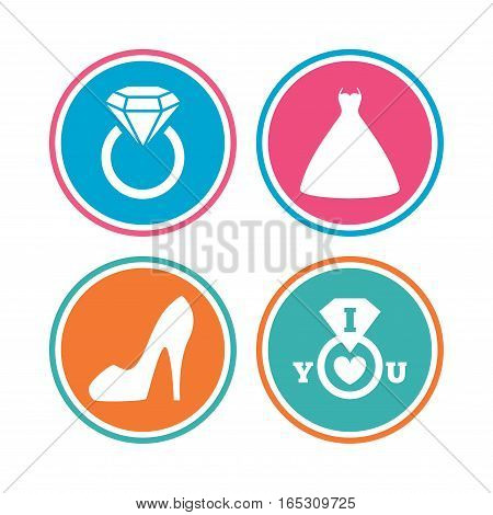 Wedding dress icon. Women's shoe symbol. Wedding or engagement day ring with diamond sign. Colored circle buttons. Vector