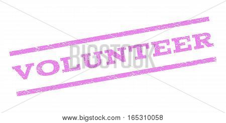 Volunteer watermark stamp. Text tag between parallel lines with grunge design style. Rubber seal stamp with dirty texture. Vector violet color ink imprint on a white background.