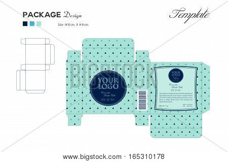 package puff powder skin color, box outline, Blue background, vector illustration