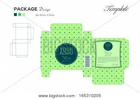 package puff powder skin color, box outline, Green background, vector illustration