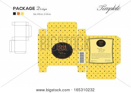 package puff powder skin color ,box outline, Yellow background, vector illustration