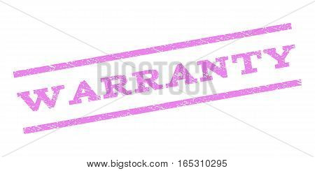 Warranty watermark stamp. Text caption between parallel lines with grunge design style. Rubber seal stamp with dust texture. Vector violet color ink imprint on a white background.