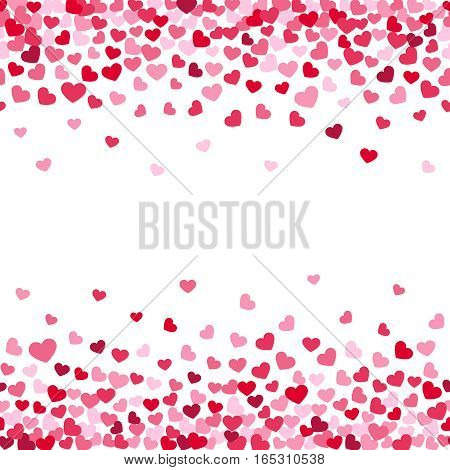 Vector white background decorating of falling valentine hearts confetti. Greeting card design for those who in love and for wedding invitation