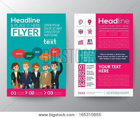 brochure flyer design layout template with modern business people teamwork concept illustration in A4 size