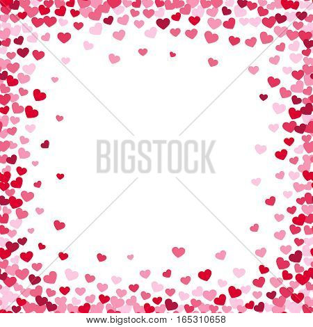 Lovely heart frame with confetti hearts. Love vector border on white background