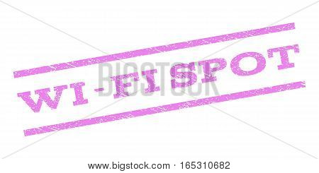 Wi-Fi Spot watermark stamp. Text tag between parallel lines with grunge design style. Rubber seal stamp with dirty texture. Vector violet color ink imprint on a white background.