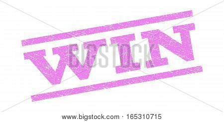 Win watermark stamp. Text tag between parallel lines with grunge design style. Rubber seal stamp with unclean texture. Vector violet color ink imprint on a white background.