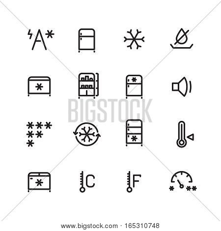 Fridge, freezer, ice machine vector thin line icons. Fridge equipment for kitchen, electric fridge illustration