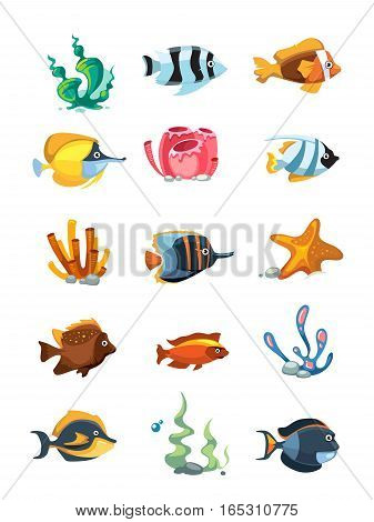 Vector cartoon aquarium decor objects, underwater assets for mobile phone game. Color sea fish for aquarium and sea coral reef illustration