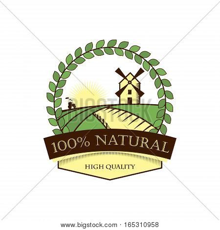 Natural products, label, icon, trade mark. Round frame of laurel, landscape with mill, the rising sun. Vector