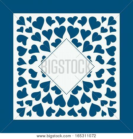 Laser cut card with hearts. Laser cutting template for diy greeting cards envelopes wedding invitations decorative elements