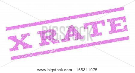 X Rate watermark stamp. Text tag between parallel lines with grunge design style. Rubber seal stamp with unclean texture. Vector violet color ink imprint on a white background.