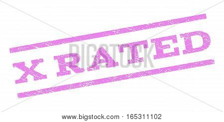 X Rated watermark stamp. Text tag between parallel lines with grunge design style. Rubber seal stamp with dust texture. Vector violet color ink imprint on a white background.