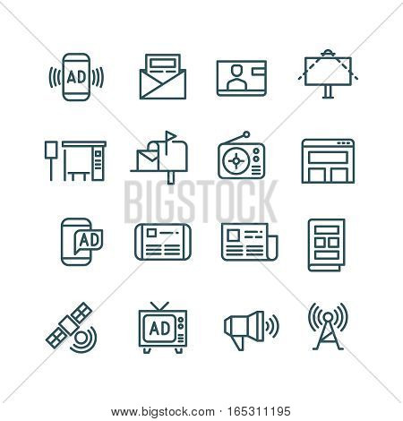 Advertising, media advertise, advertisement internet channels vector icons. Distribution of advertising with use radio, internet and newspaper illustration