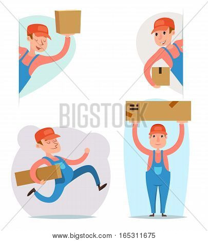 Cargo Freight Box Loading Delivery Shipment Loader Deliveryman Character Icon Cartoon Template Vector Illustration