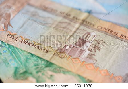 Banknote Of The United Arab Emirates In Five Dirhams Close Up