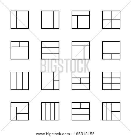 Set of layout in modern thin line style. High quality black outline align symbols for web site design and mobile apps. Simple linear layout pictograms on a white background.