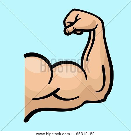 Muscle arms, strong bicep vector icon. Power bicep man, human strength bicep for fitness gym emblem illustration