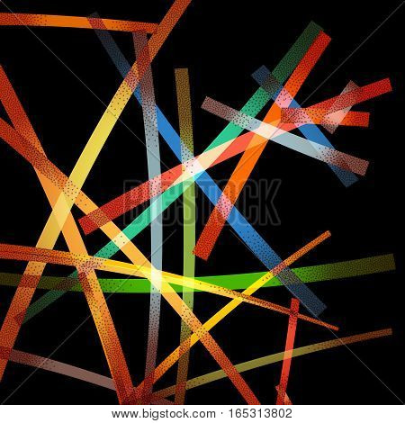 Abstract background with retro colorful lines and dotwork shades