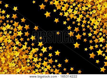 Golden stars glitter scattered in celebration card
