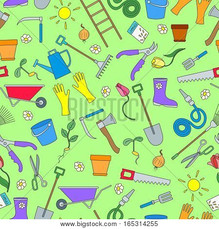 Seamless pattern on the theme of the garden planting and growing harvest a simple colored icons black on green background
