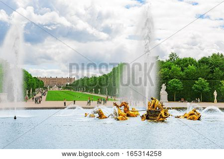 Versailles, France - July 02, 2016 :fountain Of Apollo In A Beautful And Famous Gardens Of Versaille