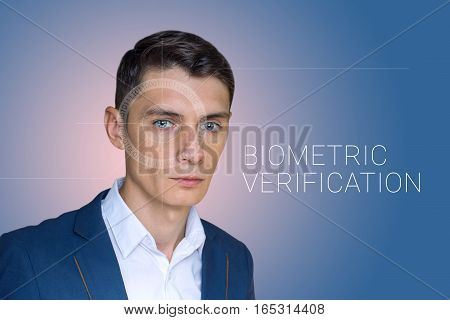 Biometric verification. Face recognition on polygonal grid is constructed by the points