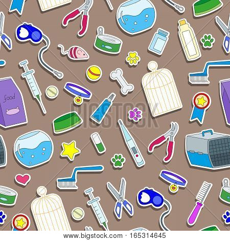 Seamless background on the topic of pet care pet shop simple colored icons on a brown background