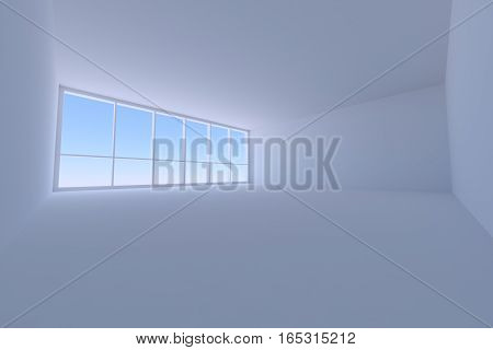 Business architecture office room interior - empty blue business office room with floor ceiling walls and large window with morning blue sky light 3d illustration wide angle