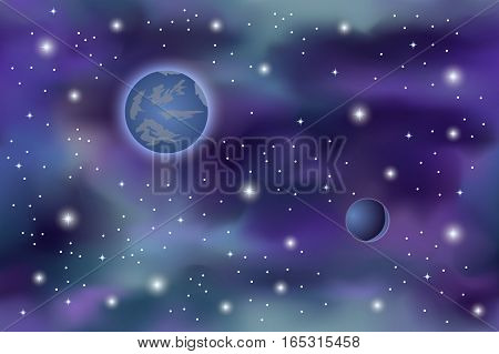 Cosmos background - galaxy with stars and planets