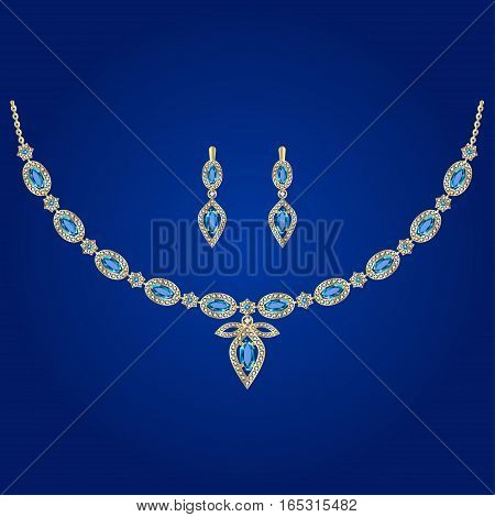 Golden necklace and earrings with diamonds and topaz