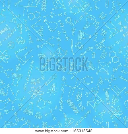 Seamless pattern with formulasgraphs and equipment as the subject of chemistry with light markers on blue background