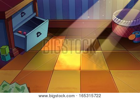 Children's Room, A Tiny Corner with Sunlight on the Floor. Video Game's Digital CG Artwork, Concept Illustration, Realistic Cartoon Style Background