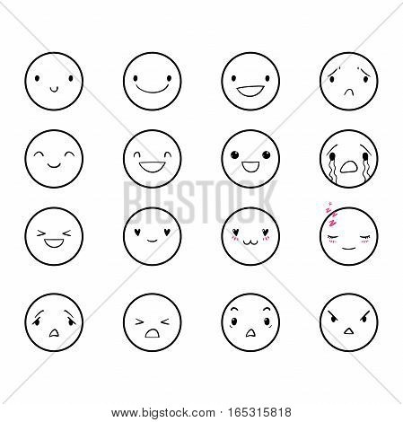 Vector set of emoticons, doodle hand-drawn smiley icons, isolated on white background, different emotions, smile, happy, cry, EPS 8