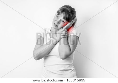 Woman With Earache Is Holding Her Aching Ear