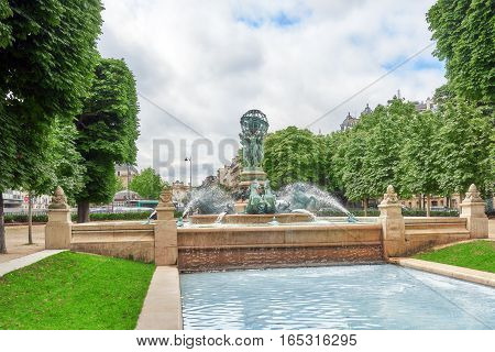 Fontaine De Observatoir Near Luxembourg Garden In Paris. France.